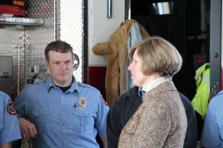 Congresswoman Brooks answers questions from Westfield firefighters.