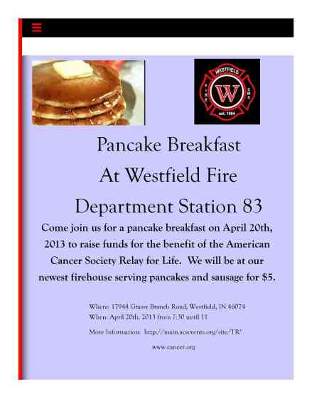 Westfield Pancake Breakfast -- Benefiting Relay for Life