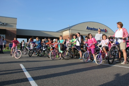 Washington Woods Elementary students gear up for today's bike ride to school.