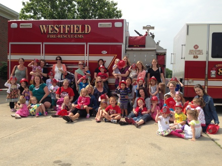 Today, a group of mother's and their children visited the Westfield Fire Department.