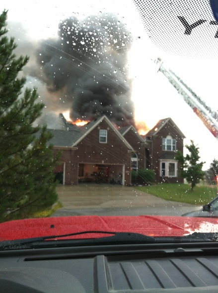 Flames bursting through a home today at 16127 Etna Green in Westfield.